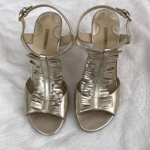 Max studio leather heels/sandals in gold size 6